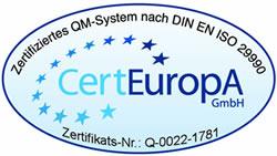 DIN EN ISO 29990 Zertifikat